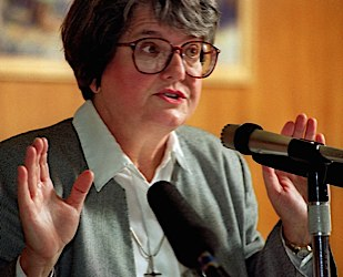Roman Catholic Sister Helen Prejean talks at Willamette University's Cone Chapel