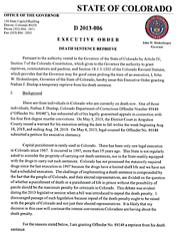 John Hickenlooper signed Death Penalty Reprieve Executive Order