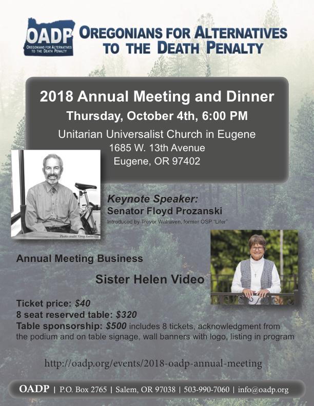 OADP 2018 Annual Dinner Flyer