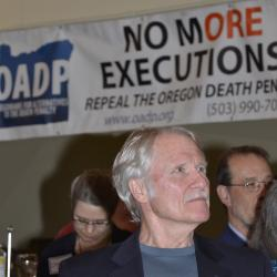 Governor Kitzhaber under the OADP No More Executions Banner